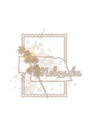 nebraska: nebraska map with flower