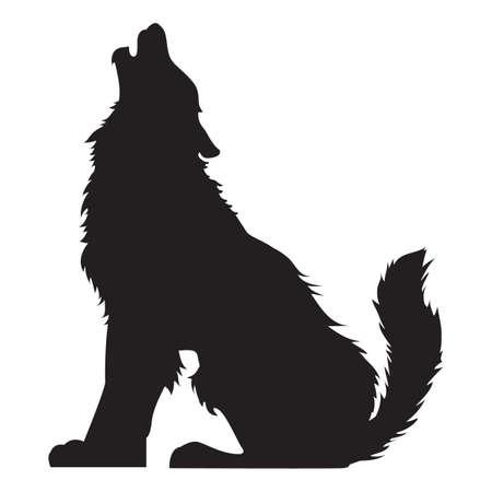 silhouette de loup hurlant