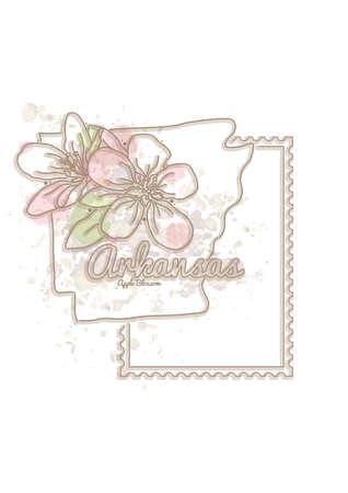 arkansas: arkansas map with flower