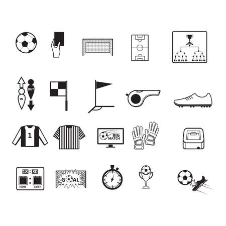 kick out: set of soccer icons