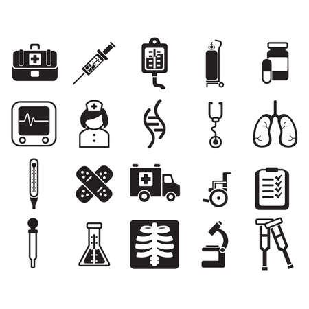 x ray machine: doctor icons Illustration