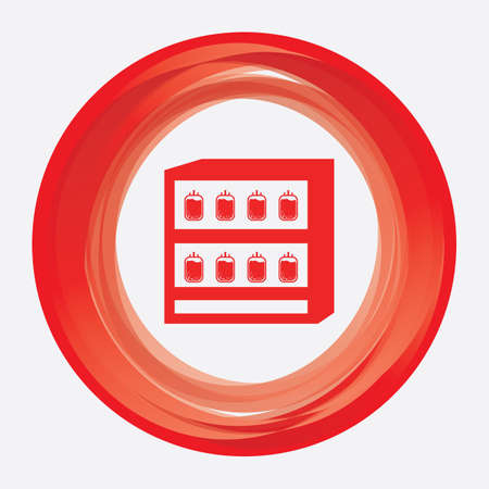 blood bag: blood bag in refrigerator Illustration