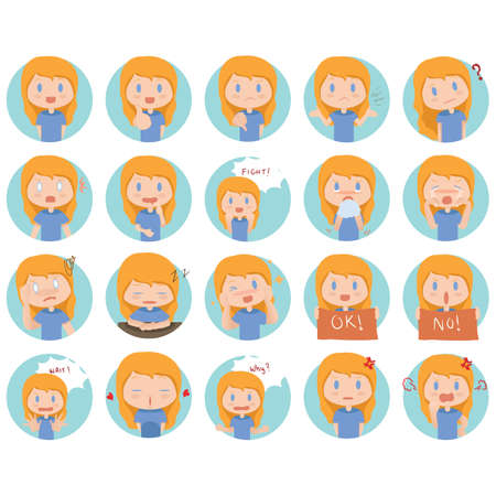 facial: collection of facial expressions Illustration