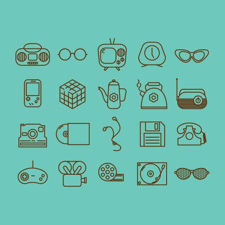 console table: retro icons Illustration