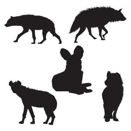 hyena: set of hyena silhouettes