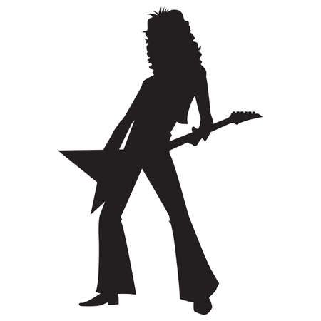 guy playing guitar: silhouette of a rockstar playing guitar