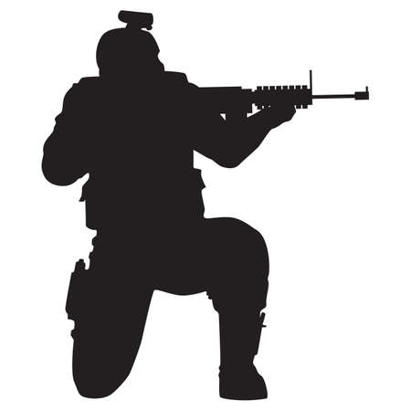 silhouette of soldier shooting with gun Illustration