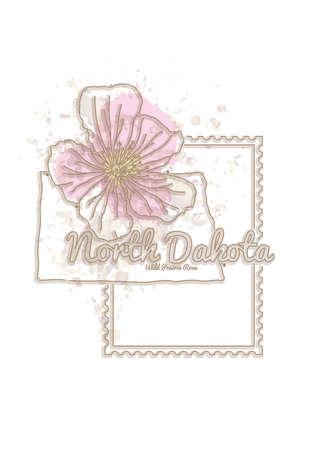 north dakota: north dakota map with flower Illustration