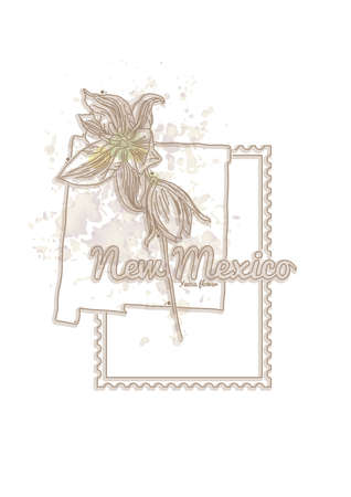 new mexico: new mexico map with flower Illustration