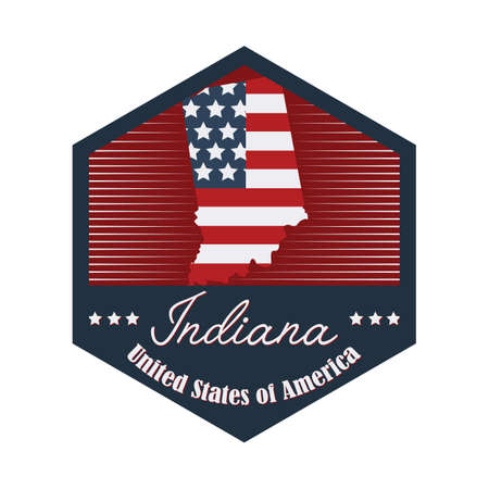 indiana: indiana label Illustration