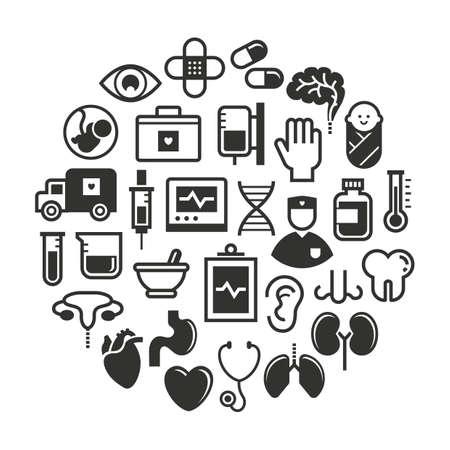 test tube baby: set of medical icons