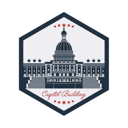 the capitol: capitol building label Illustration