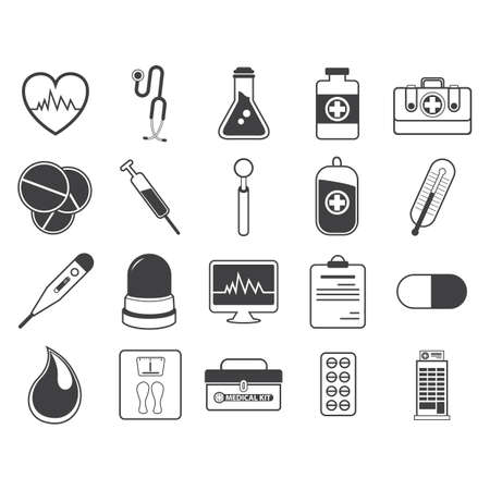 weight machine: doctor icons Illustration