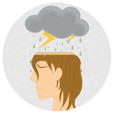 thundering: woman with rain and thunder cloud in her head Illustration