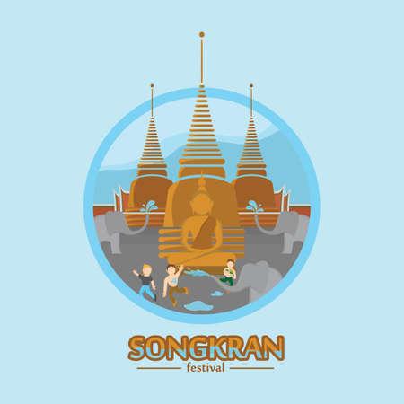 carta da parati Songkran Festival Vettoriali
