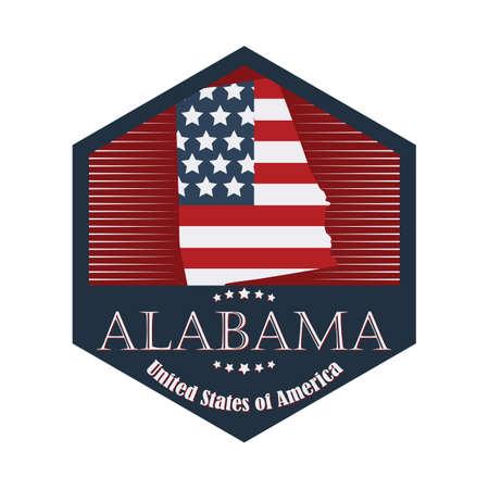 alabama: alabama label Illustration