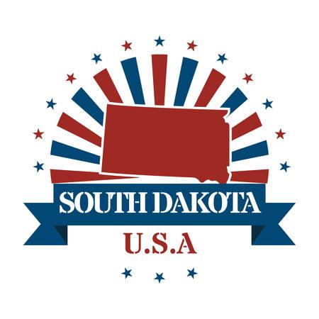 dakota: south dakota state map label Illustration