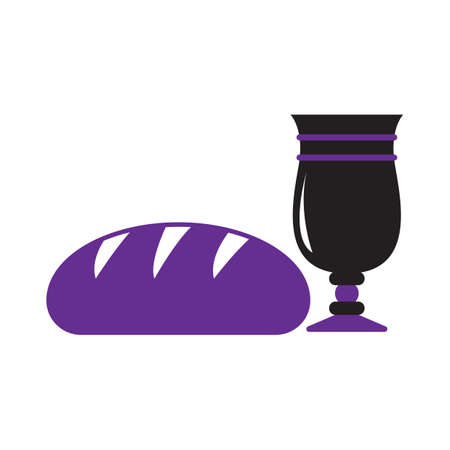 bread and wine: wine glass with bread loaf Illustration