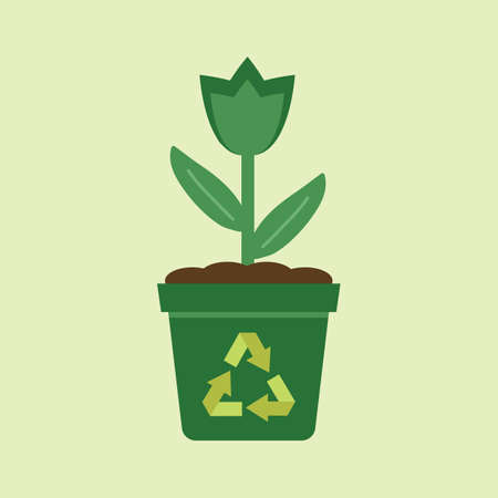 potted: potted plant with recycle symbol