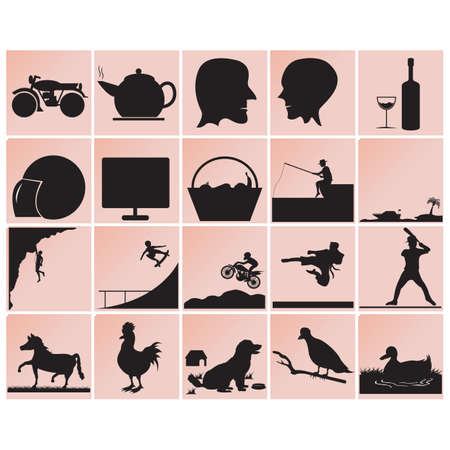 silhouettes: assorted silhouettes Illustration
