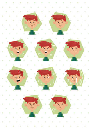 irritated: collection of boy facial expressions