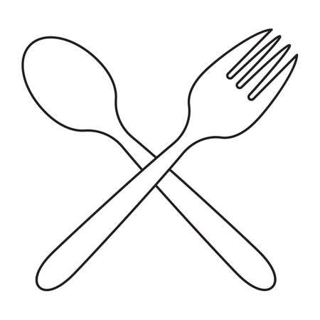 crossed spoon and fork Ilustracja