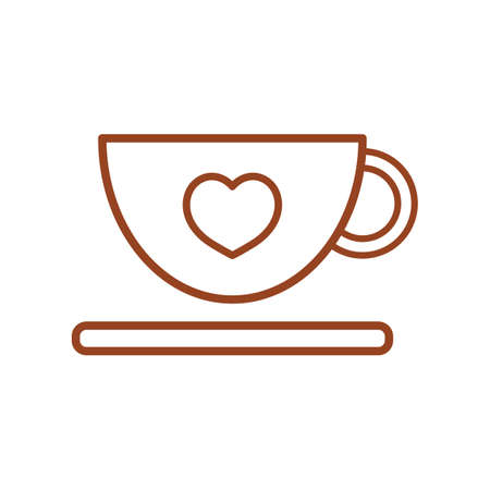 saucer: coffee cup and saucer with heart Illustration