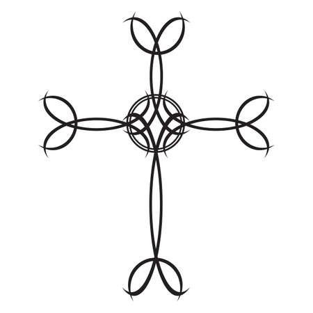 tatuaje tribal cruz Ilustración de vector