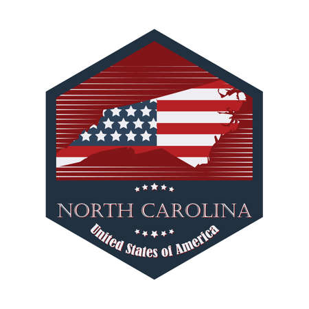 north carolina: north carolina label Illustration