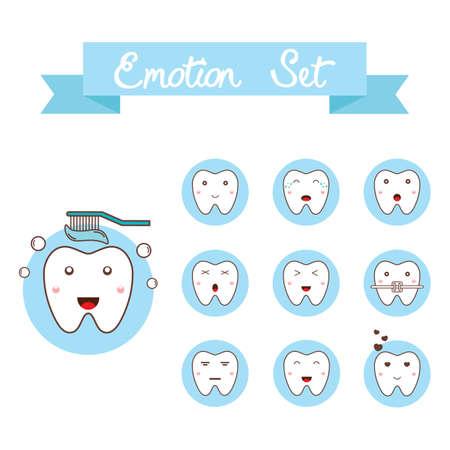 tooth emotion set Ilustração