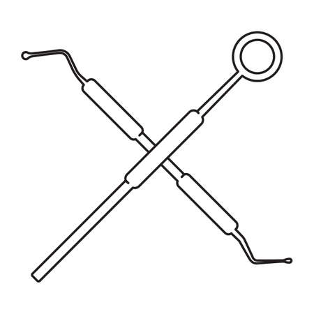 crossed dental probe and dental mirror Illustration