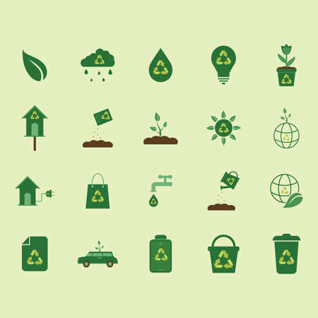 fertilizers: collection of nature icons with recycle symbol Illustration