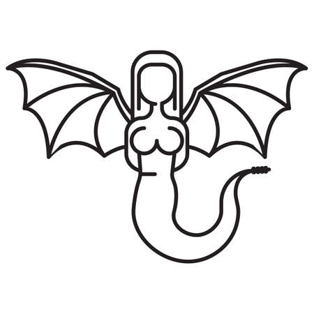 cola mujer: Mujer con una cola de serpiente y alas