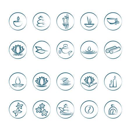 assorted zen icons set Vettoriali
