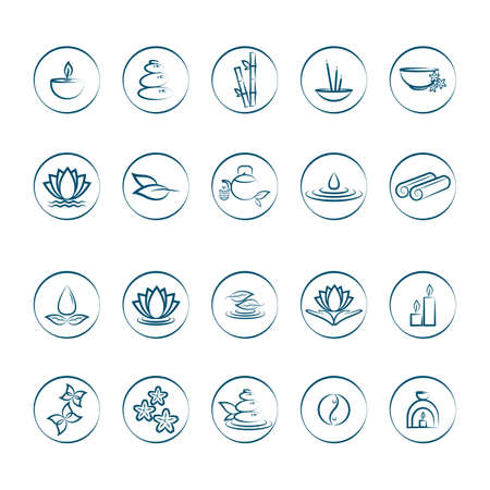 assorted zen icons set Illustration