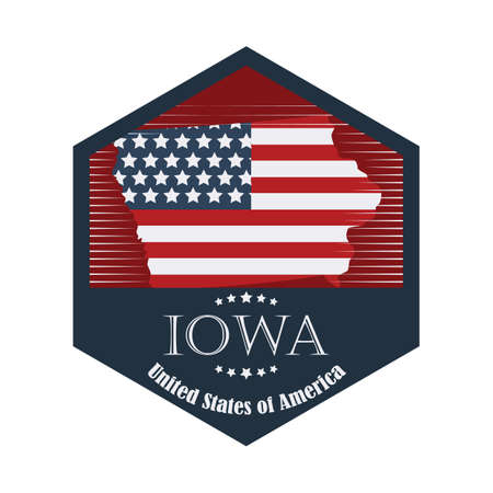 iowa: iowa label Illustration