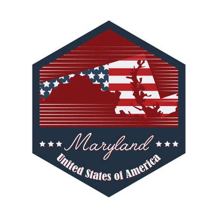 maryland: maryland label Illustration