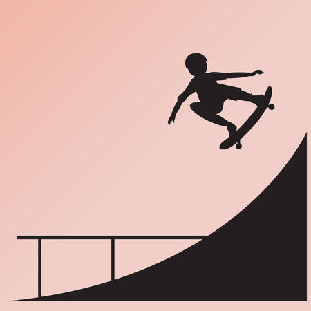 skateboard boy: silhouette of boy on skateboard