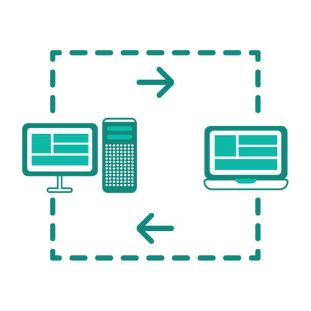 transferring: data transferring from computer to laptop