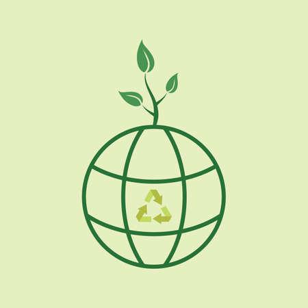sapling: globe with sapling Illustration