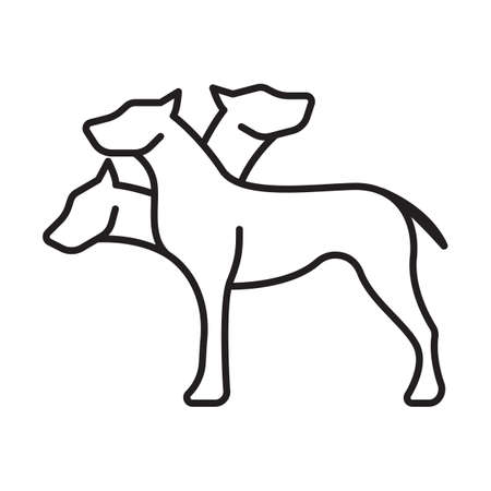 headed: three headed dog Illustration
