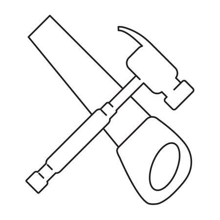 handsaw: crossed hammer and handsaw Illustration