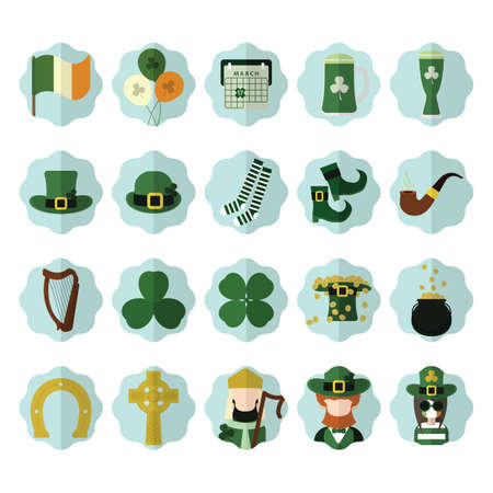 horse pipes: set of st. patricks day icons Illustration