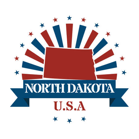 north dakota: north dakota state map label Illustration