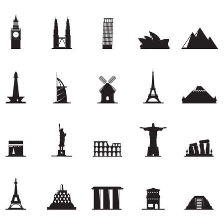 famous: silhouette of famous landmarks