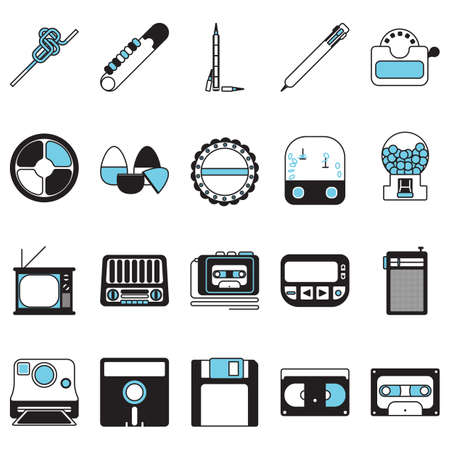 transistor: retro icons Illustration