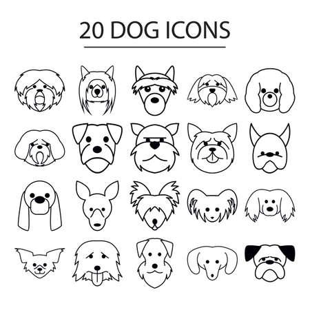 犬のアイコンのセット