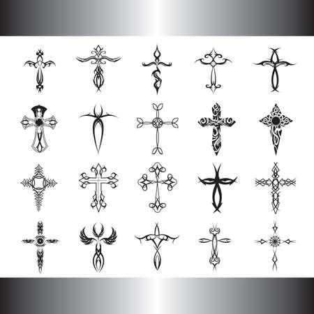 conjunto de tatuajes tribales cruz