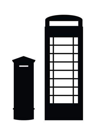 telephone booth: silhouette of post box and phone booth