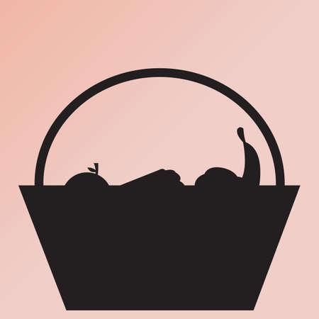 fruit basket: silhouette of fruit basket